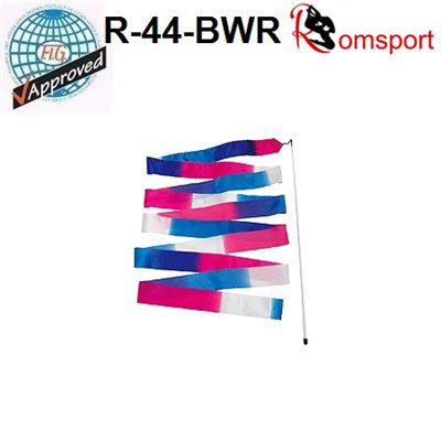 Romsports Multi-color (Blue x White x Red) Ribbon (6 m) & Stick (56 cm) Set R-44-BWR