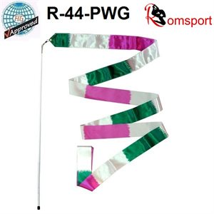 Romsports Multi-color (Pink x White x Green) Ribbon (6 m) & Stick (56 cm) Set R-44-PWG